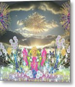 Sunset Flowers And Fireworks Metal Print