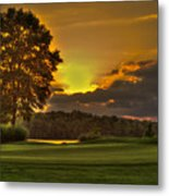 Sunset Hole In One The Landing Metal Print