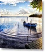 Sunset In A Fishing Village Metal Print by George Oze