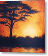 Sunset In Africa In Bright Orange Tones With A Tree Silhouette Beautiful Colorful Painting Metal Print