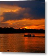 Sunset In Amazon River Metal Print