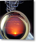 Sunset In Bell Of Sax Metal Print