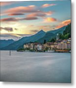 Sunset In Bellagio On Lake Como Metal Print