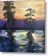 Sunset In Cypress Grove Metal Print