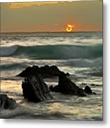 Sunset In Masua Beach Metal Print