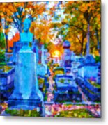 Sunset In Pere Lachaise Abstraction Metal Print