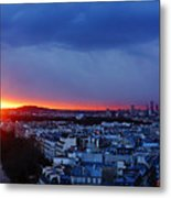 Sunset La Defense Paris France Metal Print