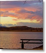 Sunset Lake Picnic Table View  Metal Print