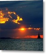 Sunset Montauk Ny Metal Print