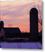 Sunset On A Dairy Farm Metal Print by Kathy DesJardins
