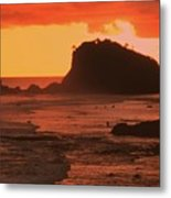 Sunset On A Rocky Coast Metal Print
