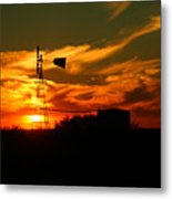 Sunset On A Windmill Jal New Mexico Metal Print