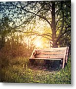 Sunset On A Wooden Bench Metal Print
