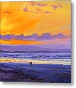 Sunset On Enniscrone Beach County Sligo Metal Print