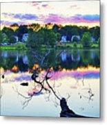 Sunset On Kenoza Lake Haverhill Ma Reflection Metal Print