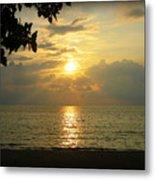 Sunset On Lake Michigan Metal Print by Trina Prenzi