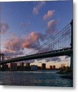 Sunset On Manhattan Bridge Metal Print by Dick Wood