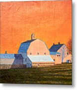 Sunset On Otisfield Barn Metal Print
