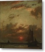 Sunset On The Coast 1870 Metal Print