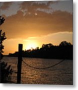 Sunset On The Dock Metal Print