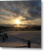 Sunset On The Farm Metal Print