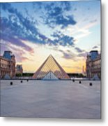 Sunset On The Louvre Metal Print