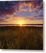 Sunset On The Marsh Metal Print by Joseph Rossbach