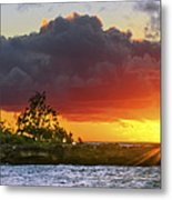 Sunset On The North Shore Of Oahu Metal Print