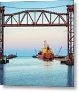 Sunset On The Port Of Chicago Waterfront Metal Print