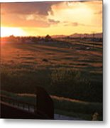 Sunset On The Railroad Track Metal Print