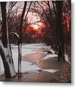 Sunset On The Red Cedar Metal Print