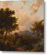 Sunset On The Rhine , Barend Cornelis Koekkoek Metal Print
