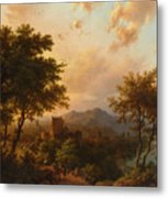 Sunset On The Rhine Metal Print