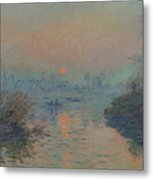Sunset On The Seine At Lavacourt, Winter Effect Metal Print