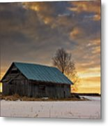Sunset On The Snowy Fields Metal Print