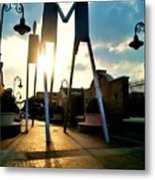 Sunset On The Strollers On South Street Bridge Metal Print