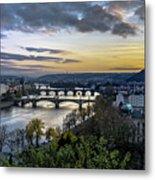 Sunset On The Vltava Metal Print