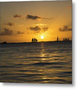 Sunset On Two Masts  Metal Print