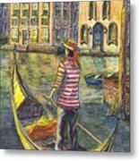 Sunset On Venice - The Gondolier Metal Print