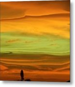 Sunset Orange And Green Metal Print