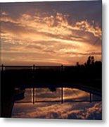 Sunset Over A Pool Metal Print