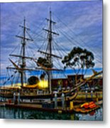 Sunset Over A Tall Ship Metal Print
