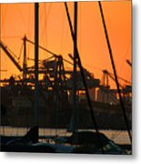 Sunset Over Alameda Harbor Metal Print