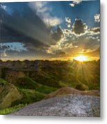 Sunset Over Badlands Np Yellow Mounds Overlook Metal Print