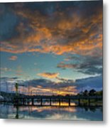 Sunset Over Boat Ramp At Anacortes Marina Metal Print