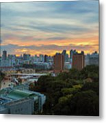 Sunset Over Clarke Quay And Fort Canning Park Metal Print