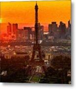 Sunset Over Eiffel Tower Metal Print