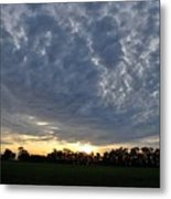 Sunset Over Farm And Trees - Distant View Metal Print