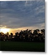 Sunset Over Farm And Trees Metal Print
