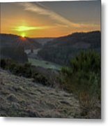 Sunset Over Forest Metal Print